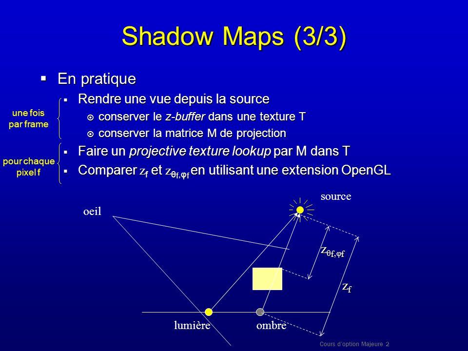 Cours doption Majeure 2 Shadow Maps (3/3) En pratique En pratique Rendre une vue depuis la source Rendre une vue depuis la source conserver le z-buffe