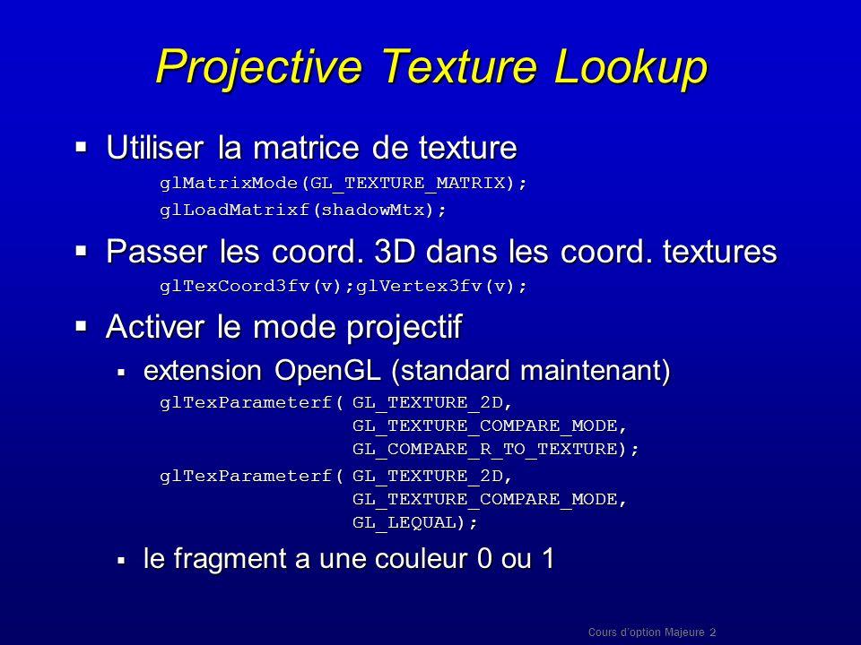 Cours doption Majeure 2 Projective Texture Lookup Utiliser la matrice de texture Utiliser la matrice de textureglMatrixMode(GL_TEXTURE_MATRIX);glLoadM
