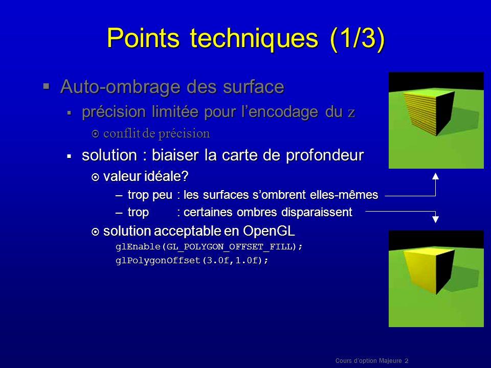 Cours doption Majeure 2 Points techniques (1/3) Auto-ombrage des surface Auto-ombrage des surface précision limitée pour lencodage du z précision limi