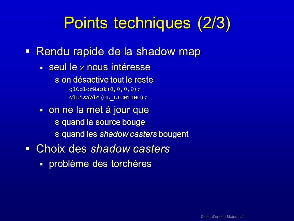Cours doption Majeure 2 Points techniques (2/3) Rendu rapide de la shadow map Rendu rapide de la shadow map seul le z nous intéresse seul le z nous in