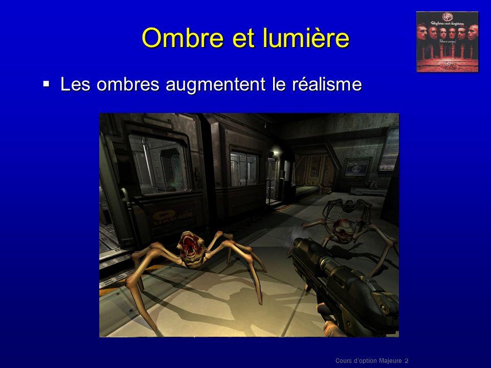 Cours doption Majeure 2 Ombre et lumière Les ombres augmentent le réalisme Les ombres augmentent le réalisme