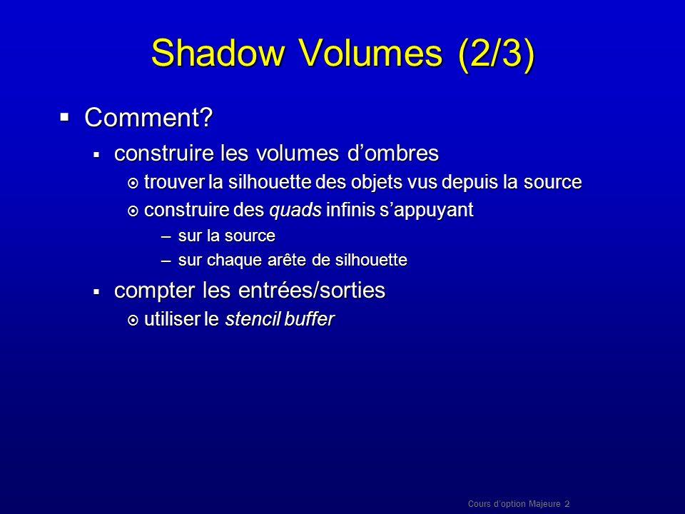 Cours doption Majeure 2 Shadow Volumes (2/3) Comment? Comment? construire les volumes dombres construire les volumes dombres trouver la silhouette des