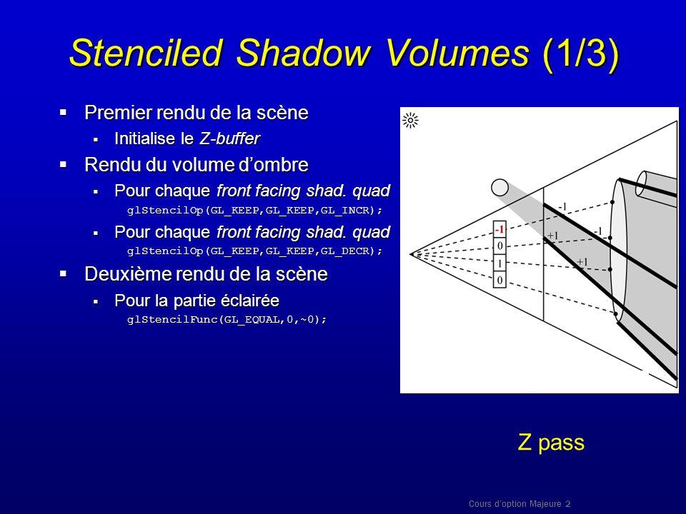 Cours doption Majeure 2 Stenciled Shadow Volumes (1/3) Premier rendu de la scène Premier rendu de la scène Initialise le Z-buffer Initialise le Z-buff
