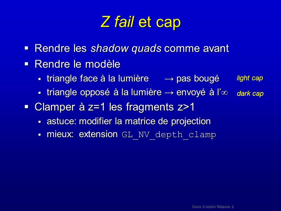 Cours doption Majeure 2 Z fail et cap Rendre les shadow quads comme avant Rendre les shadow quads comme avant Rendre le modèle Rendre le modèle triang
