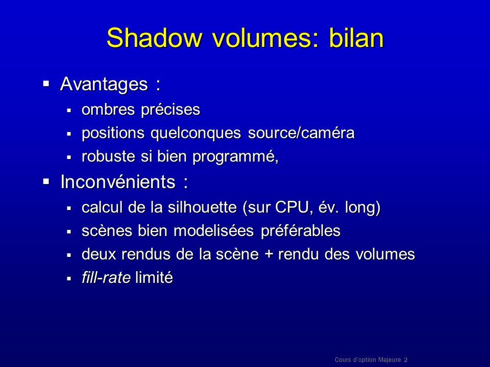 Cours doption Majeure 2 Shadow volumes: bilan Avantages : Avantages : ombres précises ombres précises positions quelconques source/caméra positions qu