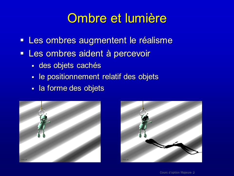 Cours doption Majeure 2 Ombre et lumière Les ombres augmentent le réalisme Les ombres augmentent le réalisme Les ombres aident à percevoir Les ombres