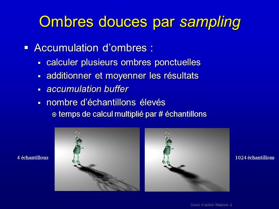 Cours doption Majeure 2 Ombres douces par sampling Accumulation dombres : Accumulation dombres : calculer plusieurs ombres ponctuelles calculer plusie
