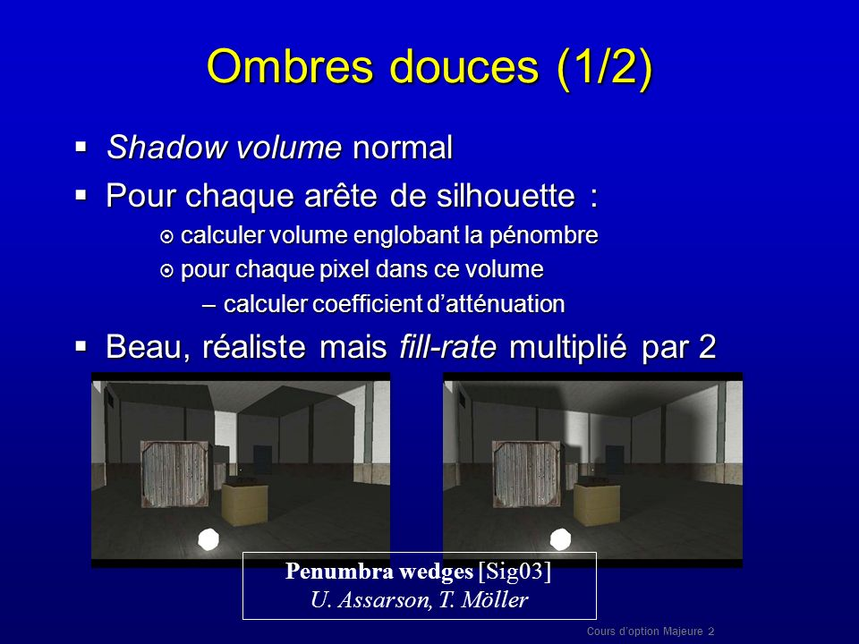 Cours doption Majeure 2 Ombres douces (1/2) Shadow volume normal Shadow volume normal Pour chaque arête de silhouette : Pour chaque arête de silhouett