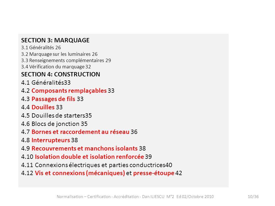 Normalisation – Certification - Accréditation - Dan ILIESCU M°2 Ed 02/Octobre 201010/36 SECTION 3: MARQUAGE 3.1 Généralités 26 3.2 Marquage sur les lu