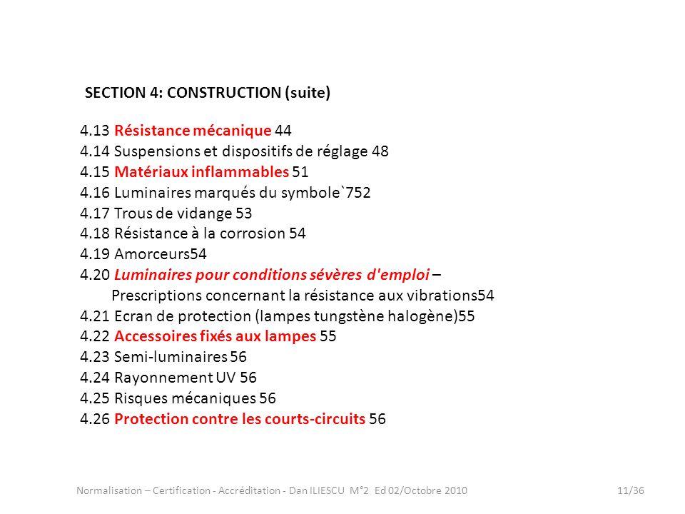 Normalisation – Certification - Accréditation - Dan ILIESCU M°2 Ed 02/Octobre 201011/36 4.13 Résistance mécanique 44 4.14 Suspensions et dispositifs d