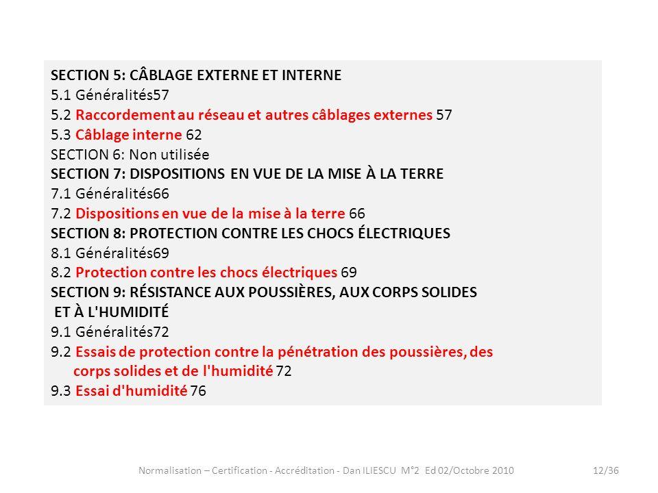 Normalisation – Certification - Accréditation - Dan ILIESCU M°2 Ed 02/Octobre 201012/36 SECTION 5: CÂBLAGE EXTERNE ET INTERNE 5.1 Généralités57 5.2 Ra
