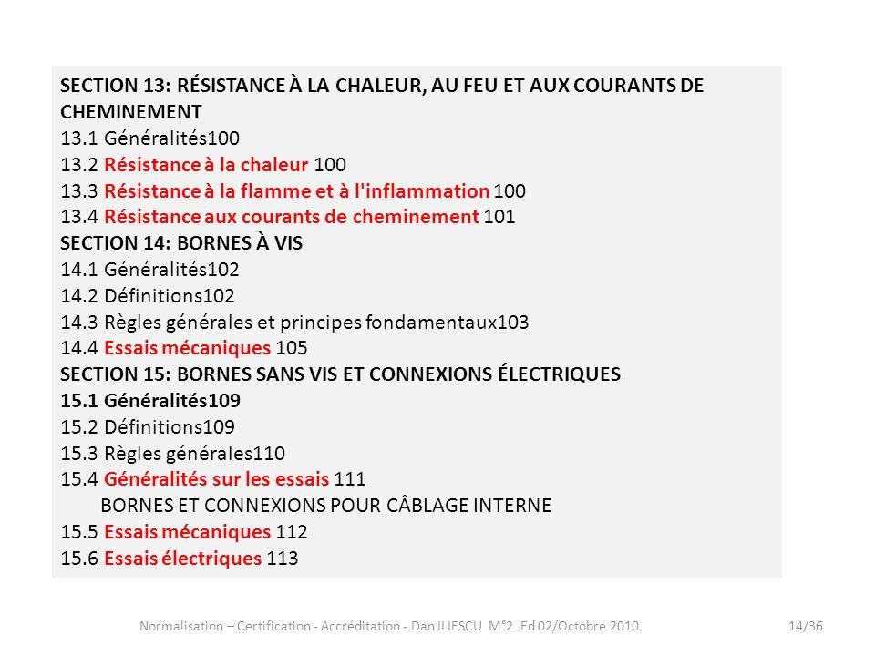 Normalisation – Certification - Accréditation - Dan ILIESCU M°2 Ed 02/Octobre 201014/36 SECTION 13: RÉSISTANCE À LA CHALEUR, AU FEU ET AUX COURANTS DE