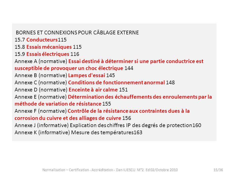 Normalisation – Certification - Accréditation - Dan ILIESCU M°2 Ed 02/Octobre 201015/36 BORNES ET CONNEXIONS POUR CÂBLAGE EXTERNE 15.7 Conducteurs115