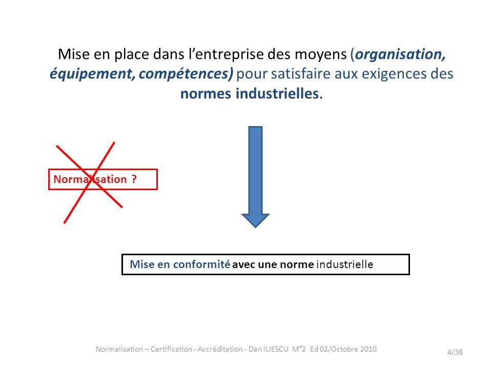 Normalisation – Certification - Accréditation - Dan ILIESCU M°2 Ed 02/Octobre 2010 4/36 Mise en place dans lentreprise des moyens (organisation, équip
