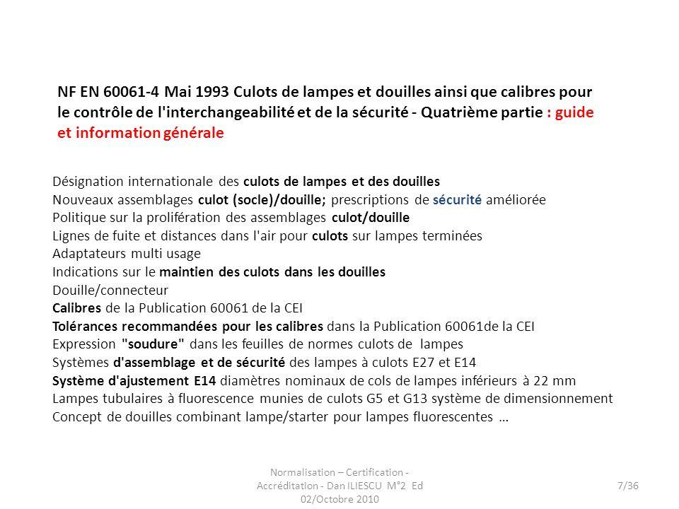 Normalisation – Certification - Accréditation - Dan ILIESCU M°2 Ed 02/Octobre 2010 7/36 Désignation internationale des culots de lampes et des douille