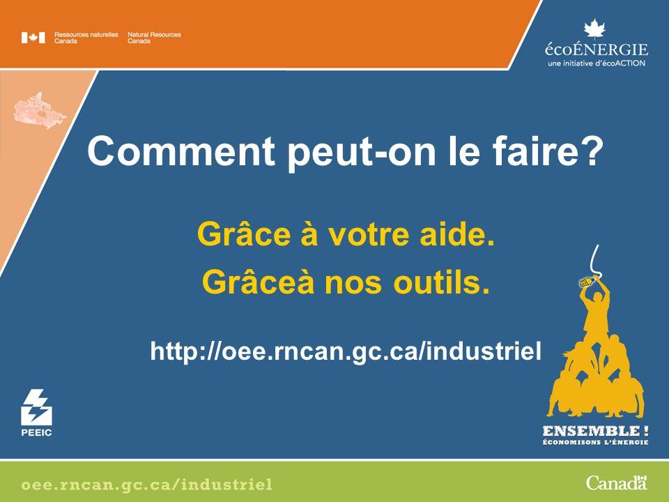 Comment peut-on le faire? Grâce à votre aide. Grâceà nos outils. http://oee.rncan.gc.ca/industriel