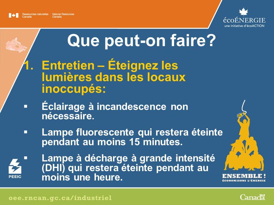 1.Entretien – Éteignez les lumières dans les locaux inoccupés: Éclairage à incandescence non nécessaire.