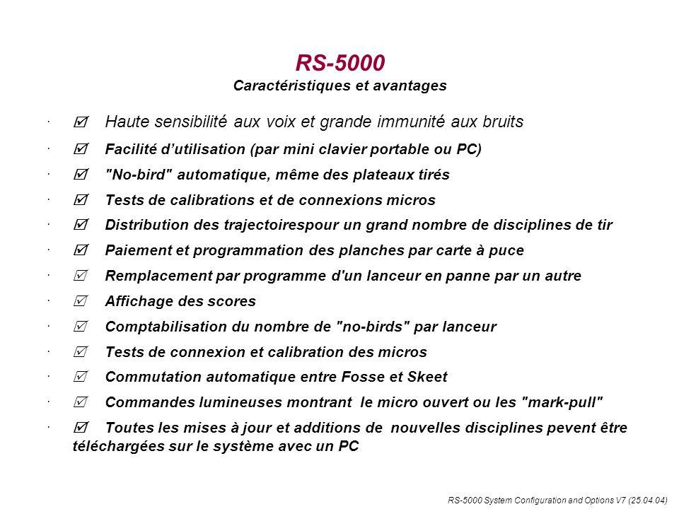 RS-5000 System Configuration and Options V7 (25.04.04) RS-5000 Caractéristiques et avantages (suite) De multiples accessoires peuvent être raccordés: cartes à puce, lampes de signalisations micros et lanceurs, Panneau daffichage ou TV.