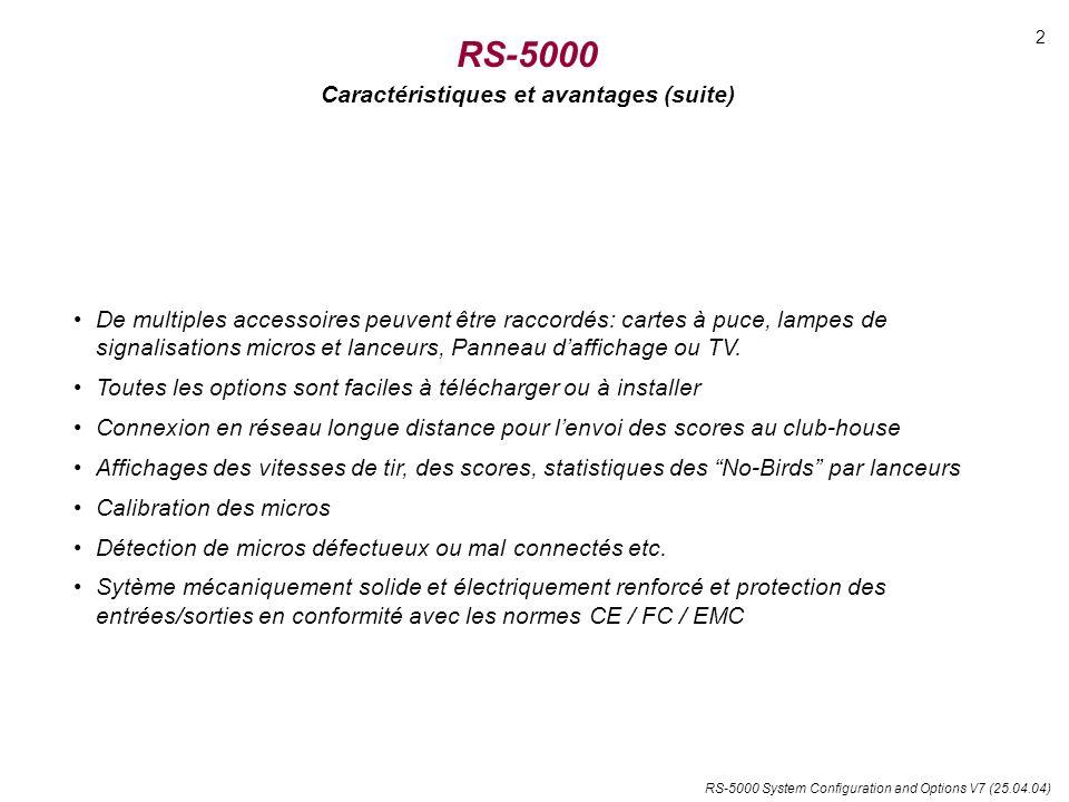 RS-5000 System Configuration and Options V7 (25.04.04) RS-5000 Caractéristiques et avantages (suite) De multiples accessoires peuvent être raccordés: