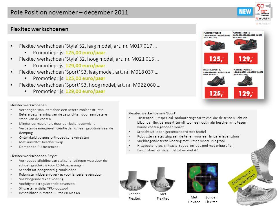 Gepatenteerd – exclusief Würth Pole Position november – december 2011 Flexitec werkschoenen Flexitec werkschoen Style S2, laag model, art. nr. M017 01