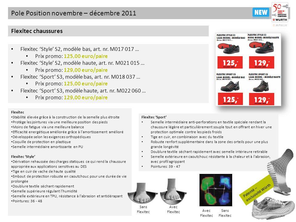 Patenté – exclusivité Würth Pole Position novembre – décembre 2011 Flexitec chaussures Flexitec Style S2, modèle bas, art. nr. M017 017 … Prix promo: