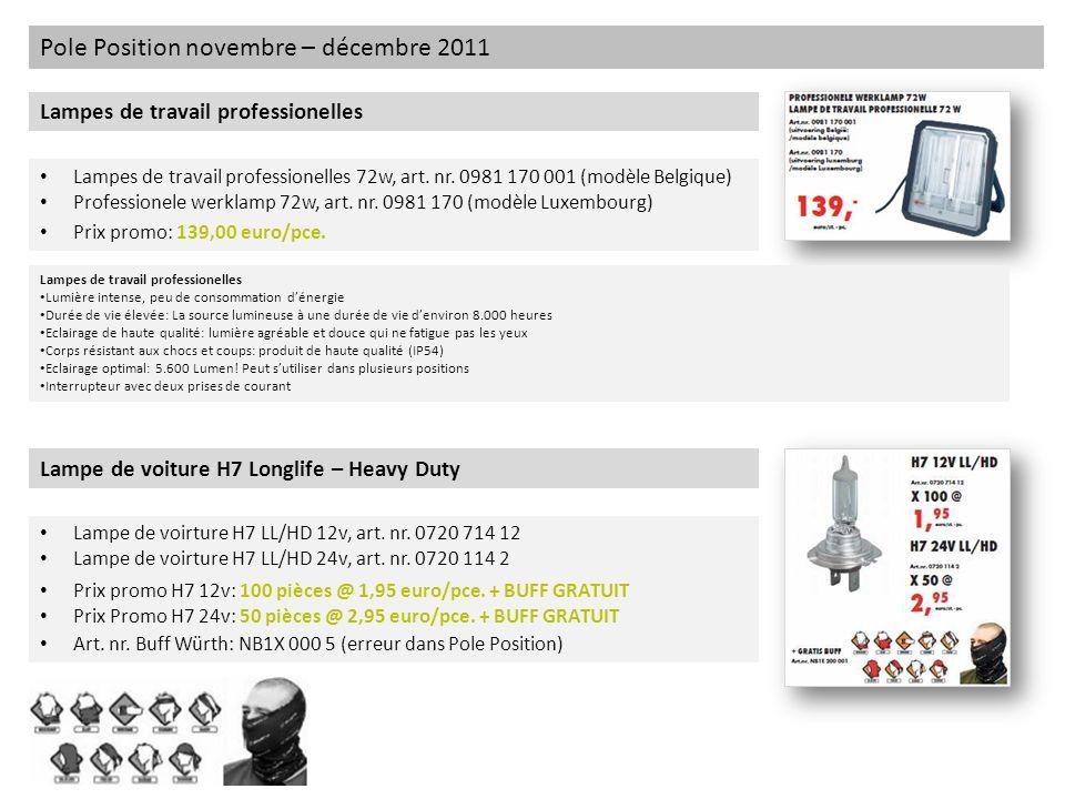 Pole Position novembre – décembre 2011 Lampes de travail professionelles Lampes de travail professionelles 72w, art. nr. 0981 170 001 (modèle Belgique