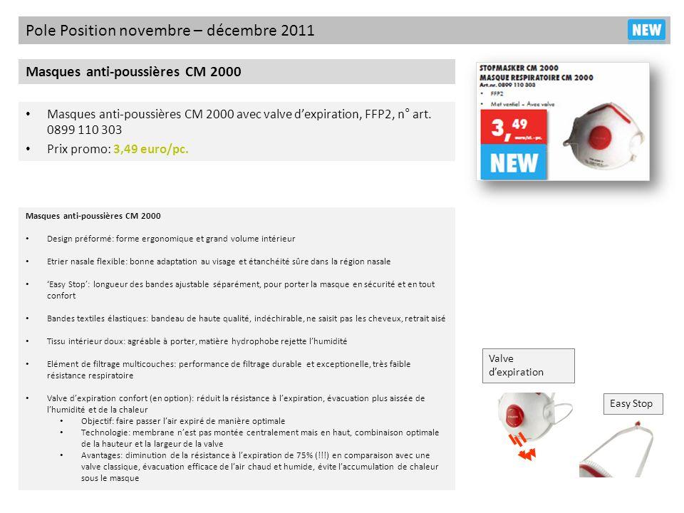 Pole Position novembre – décembre 2011 Masques anti-poussières CM 2000 Masques anti-poussières CM 2000 avec valve dexpiration, FFP2, n° art. 0899 110