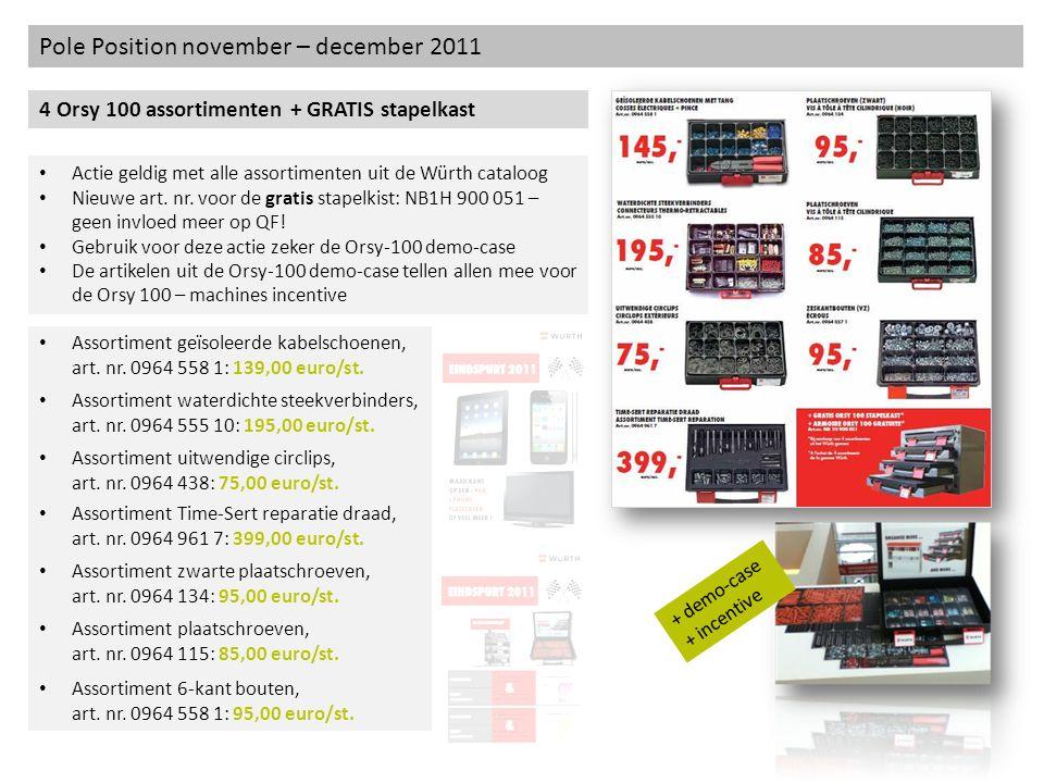 Pole Position november – december 2011 4 Orsy 100 assortimenten + GRATIS stapelkast Actie geldig met alle assortimenten uit de Würth cataloog Nieuwe a