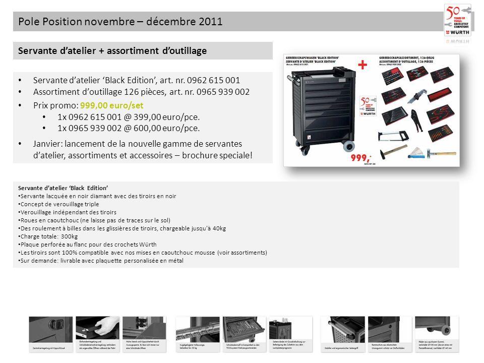 Pole Position novembre – décembre 2011 Servante datelier + assortiment doutillage Servante datelier Black Edition, art. nr. 0962 615 001 Assortiment d