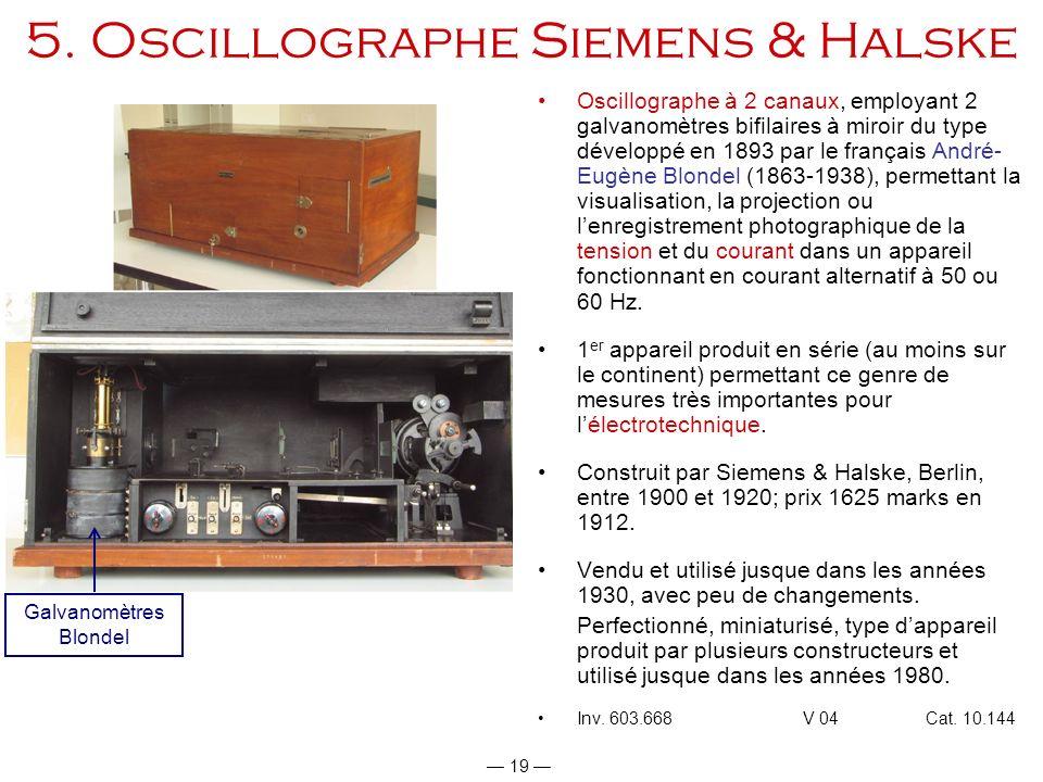 19 5. Oscillographe Siemens & Halske Oscillographe à 2 canaux, employant 2 galvanomètres bifilaires à miroir du type développé en 1893 par le français