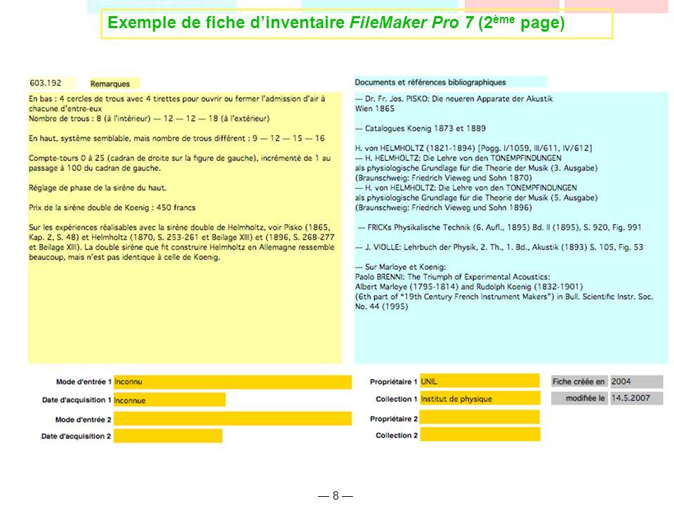 8 Exemple de fiche dinventaire FileMaker Pro 7 (2 ème page)