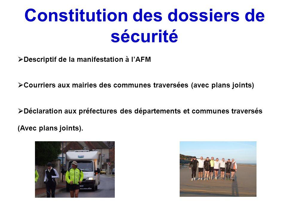 Constitution des dossiers de sécurité Descriptif de la manifestation à lAFM Courriers aux mairies des communes traversées (avec plans joints) Déclarat