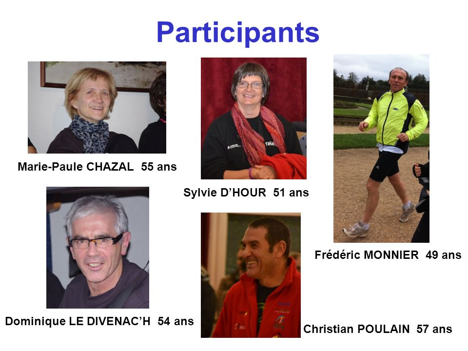 Participants Marie-Paule CHAZAL 55 ans Sylvie DHOUR 51 ans Frédéric MONNIER 49 ans Christian POULAIN 57 ans Dominique LE DIVENACH 54 ans