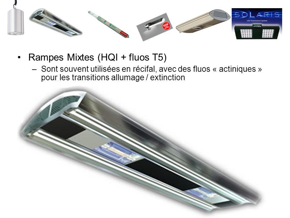 Rampes Mixtes (HQI + fluos T5) –Sont souvent utilisées en récifal, avec des fluos « actiniques » pour les transitions allumage / extinction