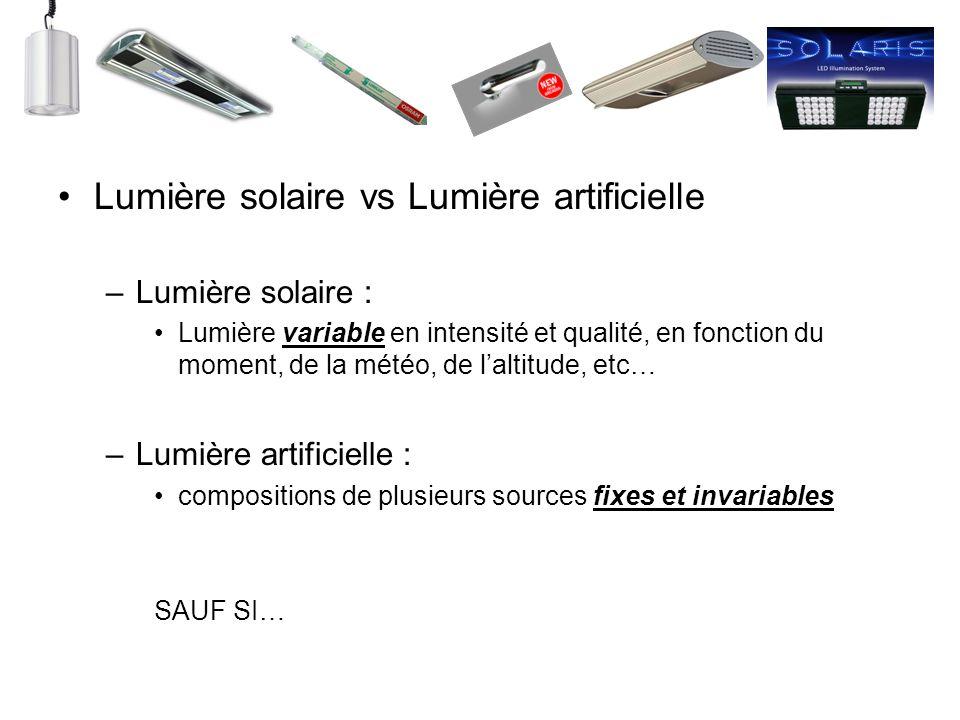 Lumière solaire vs Lumière artificielle –Lumière solaire : Lumière variable en intensité et qualité, en fonction du moment, de la météo, de laltitude,