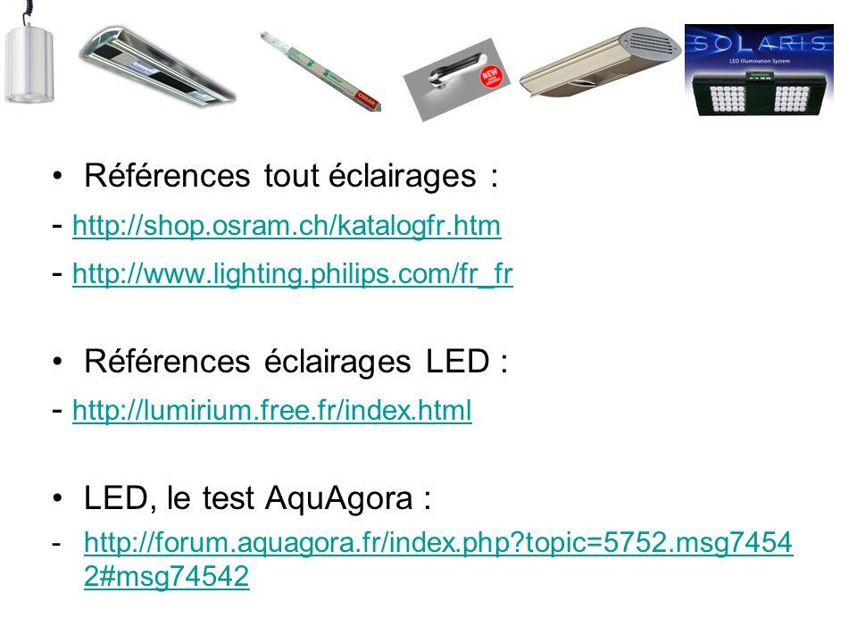 Références tout éclairages : - http://shop.osram.ch/katalogfr.htm http://shop.osram.ch/katalogfr.htm - http://www.lighting.philips.com/fr_fr http://ww