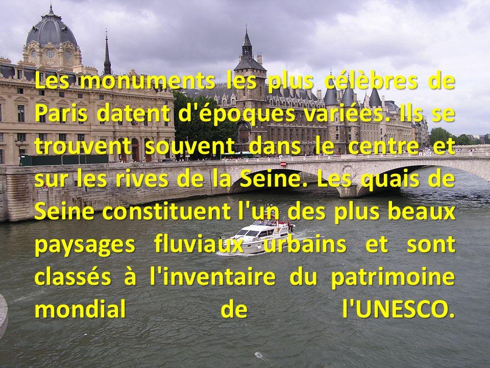 On y trouve notamment: Notre-Dame, le Louvre, les Invalides, le pont Alexandre-III, le Grand Palais, la Tour Eiffel et le Trocadéro.