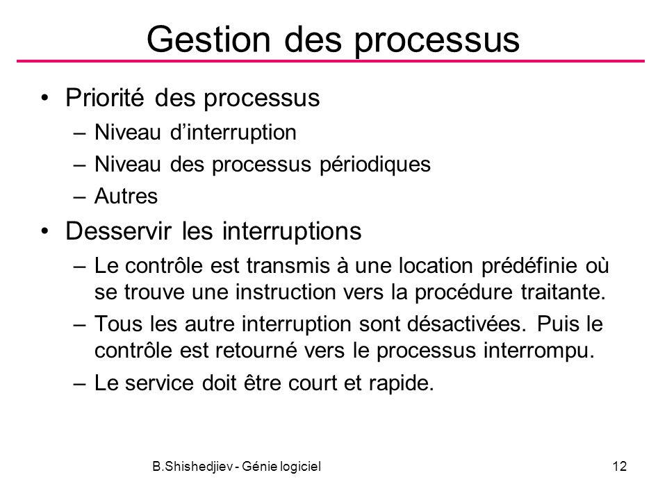 B.Shishedjiev - Génie logiciel12 Gestion des processus Priorité des processus –Niveau dinterruption –Niveau des processus périodiques –Autres Desservir les interruptions –Le contrôle est transmis à une location prédéfinie où se trouve une instruction vers la procédure traitante.