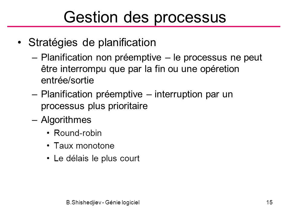 B.Shishedjiev - Génie logiciel15 Gestion des processus Stratégies de planification –Planification non préemptive – le processus ne peut être interrompu que par la fin ou une opéretion entrée/sortie –Planification préemptive – interruption par un processus plus prioritaire –Algorithmes Round-robin Taux monotone Le délais le plus court