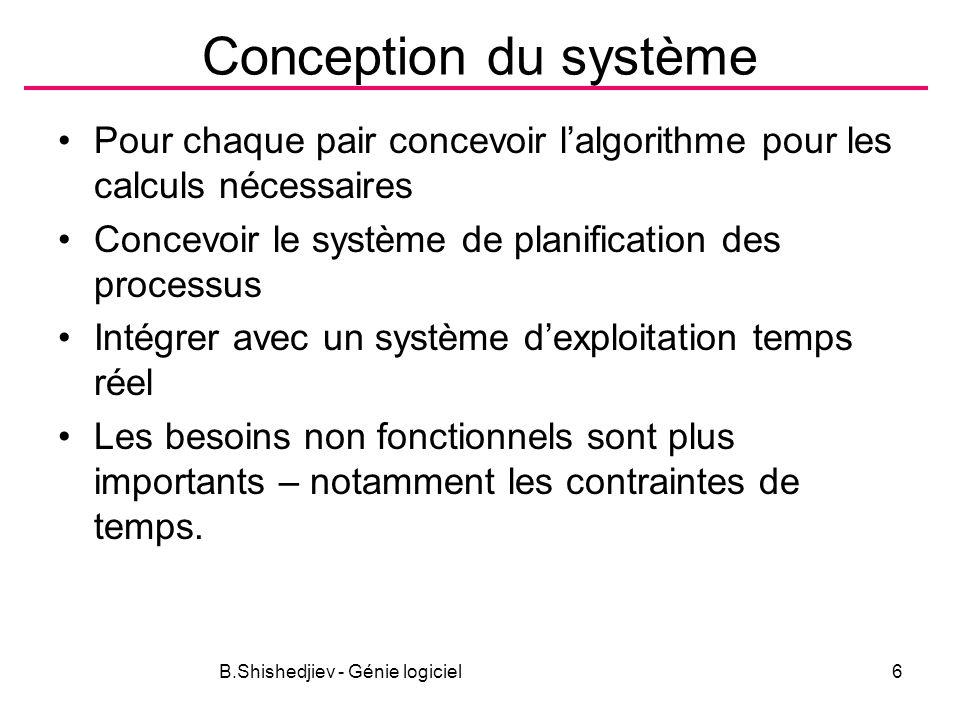 B.Shishedjiev - Génie logiciel6 Conception du système Pour chaque pair concevoir lalgorithme pour les calculs nécessaires Concevoir le système de planification des processus Intégrer avec un système dexploitation temps réel Les besoins non fonctionnels sont plus importants – notamment les contraintes de temps.