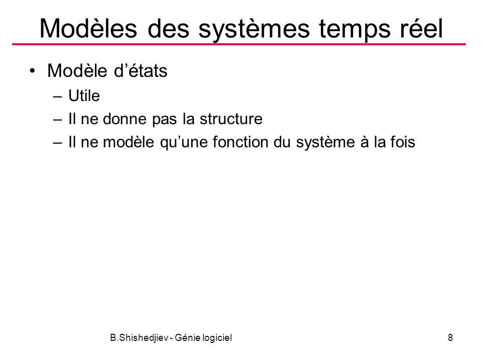 B.Shishedjiev - Génie logiciel8 Modèles des systèmes temps réel Modèle détats –Utile –Il ne donne pas la structure –Il ne modèle quune fonction du système à la fois