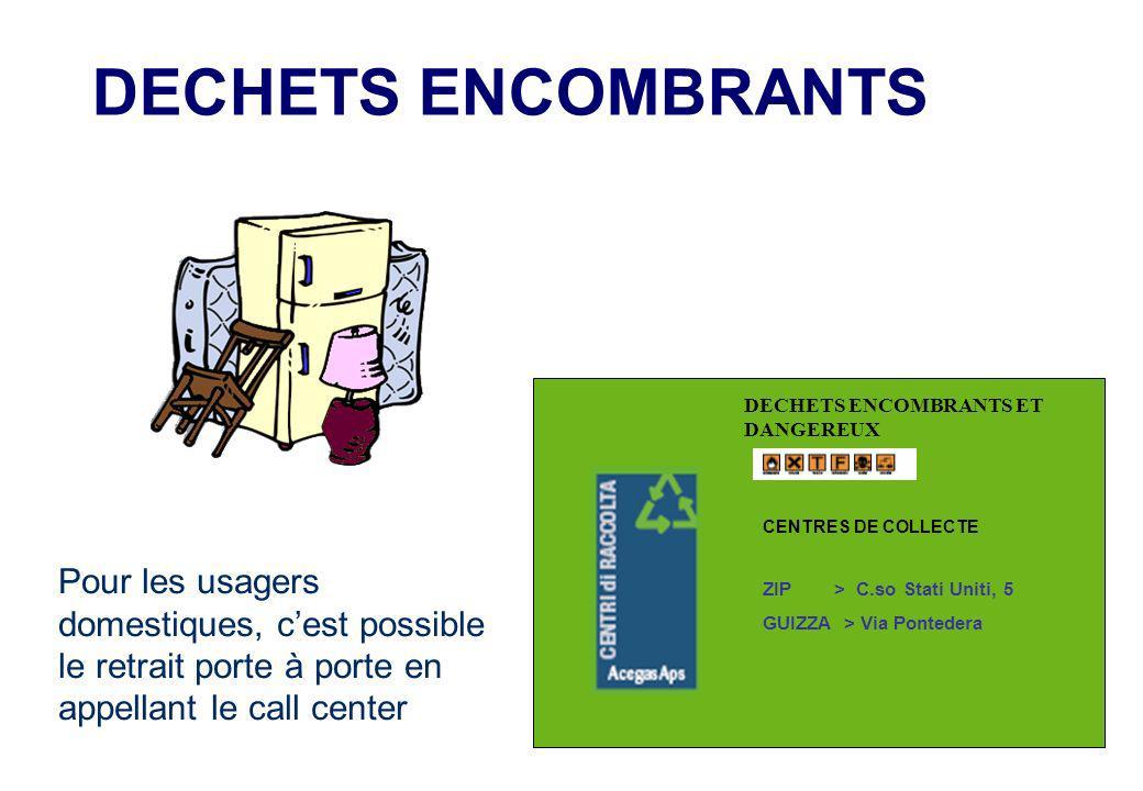 DECHETS ENCOMBRANTS Pour les usagers domestiques, cest possible le retrait porte à porte en appellant le call center DECHETS ENCOMBRANTS ET DANGEREUX CENTRES DE COLLECTE ZIP > C.so Stati Uniti, 5 GUIZZA > Via Pontedera