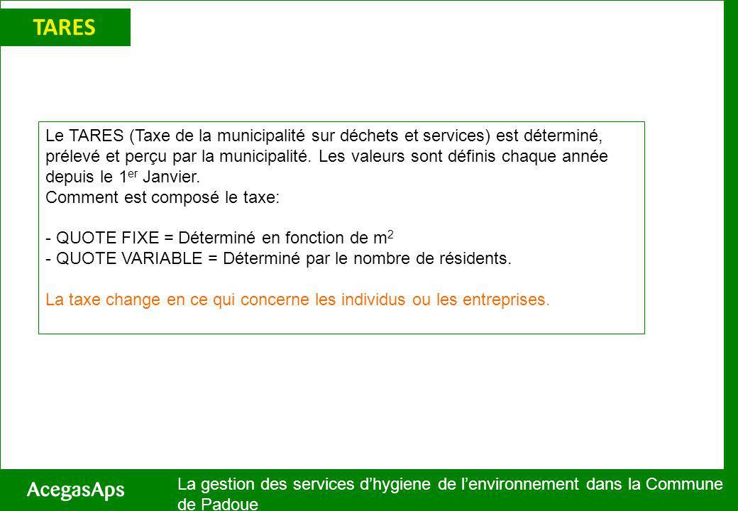 TARES La gestion des services dhygiene de lenvironnement dans la Commune de Padoue Le TARES (Taxe de la municipalité sur déchets et services) est déterminé, prélevé et perçu par la municipalité.