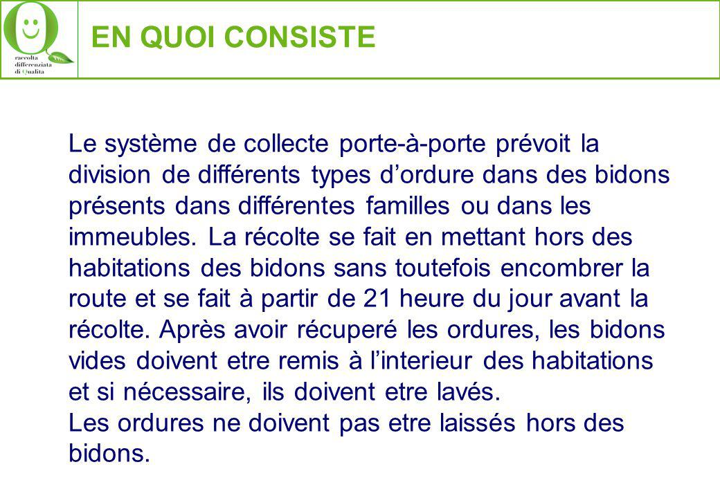 EN QUOI CONSISTE Le système de collecte porte-à-porte prévoit la division de différents types dordure dans des bidons présents dans différentes familles ou dans les immeubles.