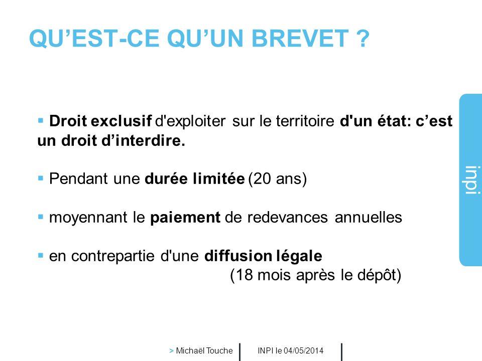 inpi INPI le 04/05/2014 > Michaël Touche Quest-ce quune invention ? Cest une solution technique à un problème technique : Un nouveau produit : - larma