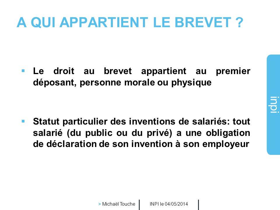 inpi INPI le 04/05/2014 > Michaël Touche L'INVENTION BREVETABLE NOUVELLE non comprise dans létat de la technique, ne doit pas avoir été rendue accessi