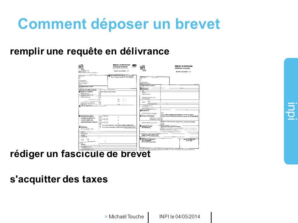 inpi INPI le 04/05/2014 > Michaël Touche A QUI APPARTIENT LE BREVET ? Le droit au brevet appartient au premier déposant, personne morale ou physique S