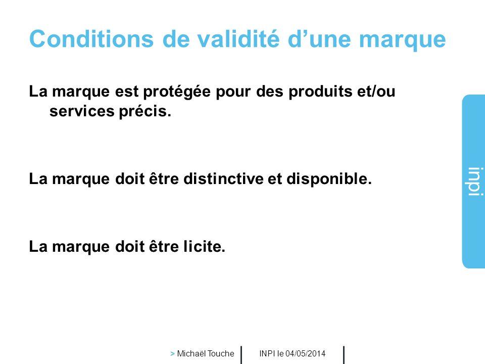 inpi INPI le 04/05/2014 > Michaël Touche Différentes catégories de signes : Signe sonore