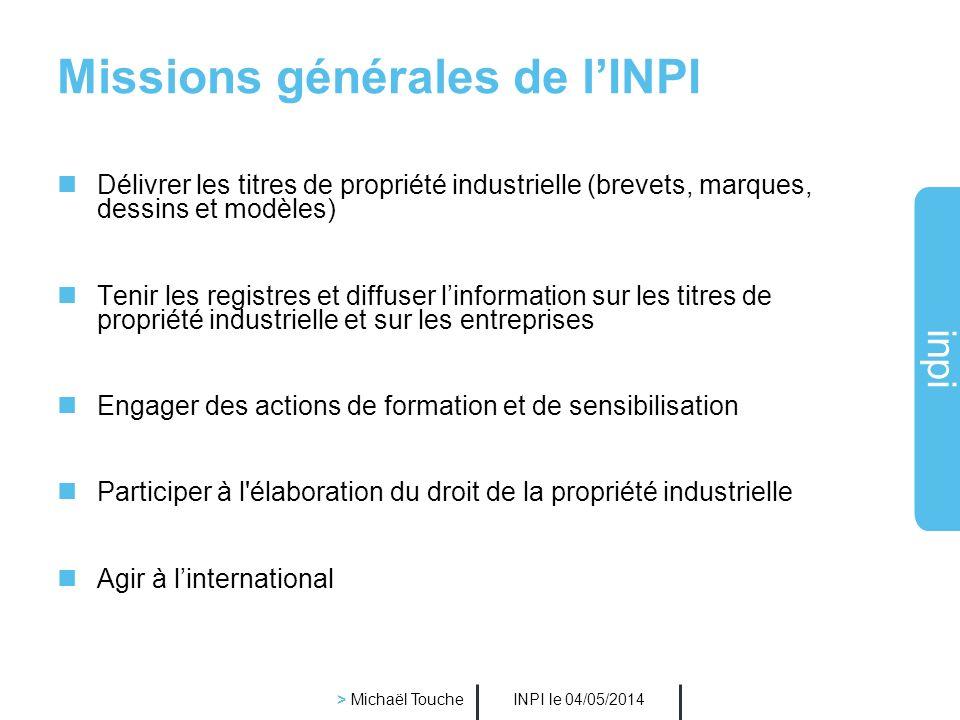 inpi INPI le 04/05/2014 > Michaël Touche Conditions de validité dune marque La marque est protégée pour des produits et/ou services précis.