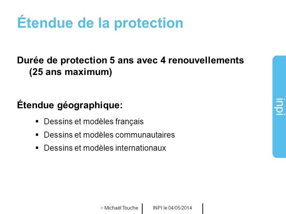 inpi INPI le 04/05/2014 > Michaël Touche Exclusion de la protection (1/2) Les D & M dont la forme est exclusivement dictée par la fonction technique L